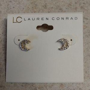 NET,Crescent moon stud earrings, pierced, Crystal